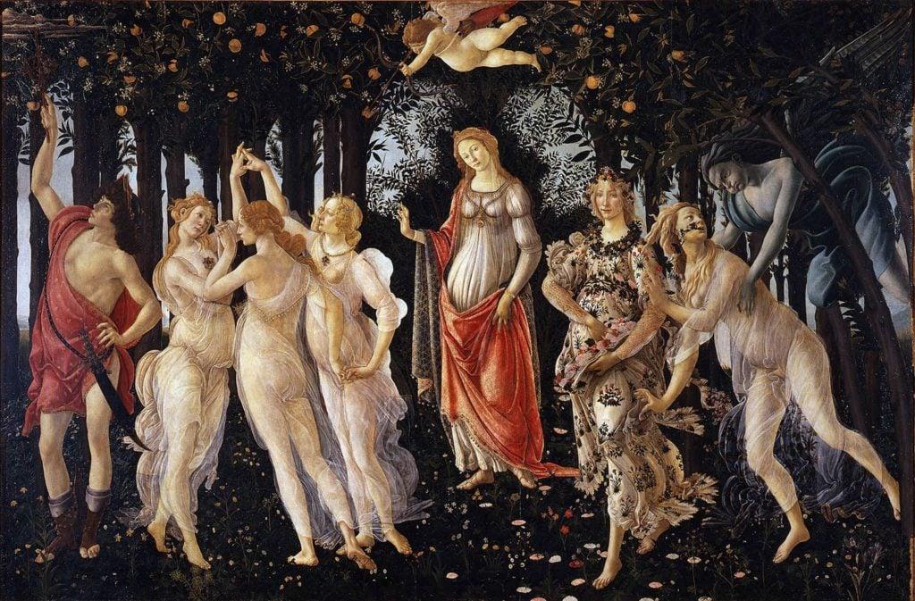 Sandro Botticelli, Primavera, c. 1482, Uffizi Gallery art masterpieces to welcome spring
