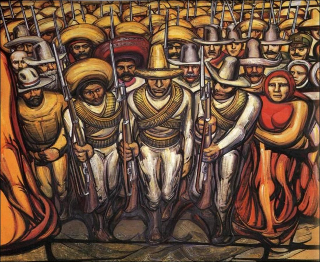 From the Dictatorship of Porfirio Díaz to the Revolution, The People in Arms, David Alfaro Siqueiros, 1966, Museo Nacional de Historia, The History of Mexico in Murals