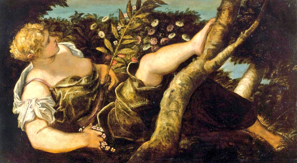 spring paintings Tintoretto, Allegorical Figure of Spring, circa 1555, Chrysler Museum of Art art masterpieces to welcome spring