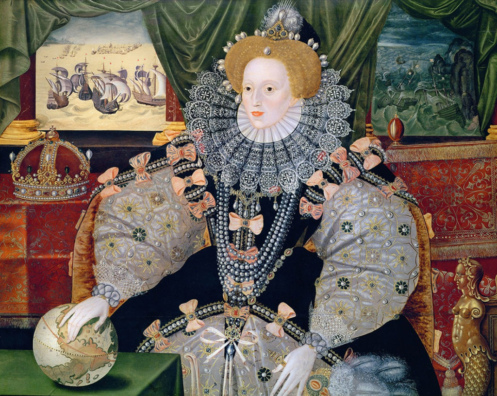 Portraits of Queen Elizabeth I: The Woburn Abbey version of the Armada Portrait, unknown English artist (formerly attributed to George Gower), 1588, Woburn Abbey, Bedfordshire, UK.