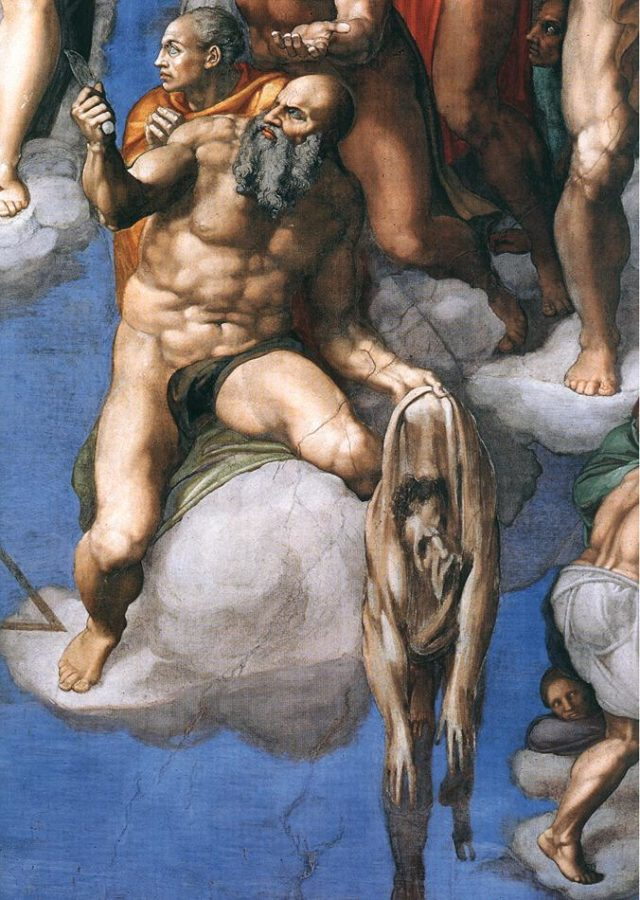 Saint Bartholomew displaying his flayed skin, with the face of Michelangelo Facts about Sistine Chapel