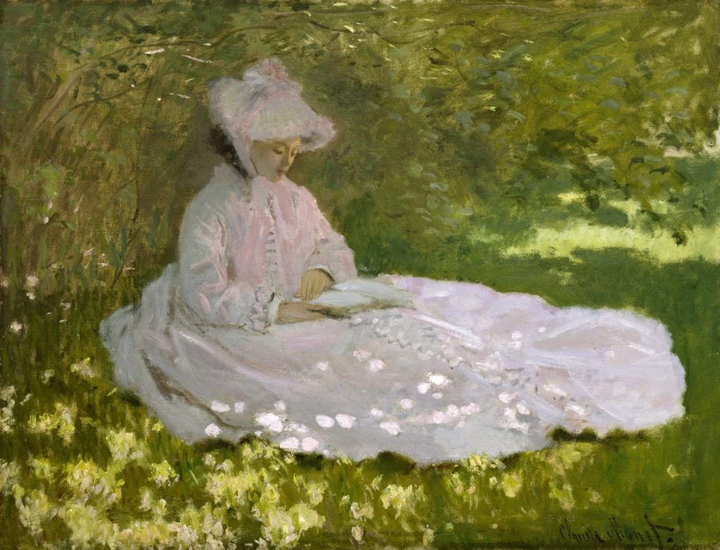 art masterpieces to welcome spring spring paintings Claude Monet, Springtime, 1872, Walters Art Museum, Baltimore