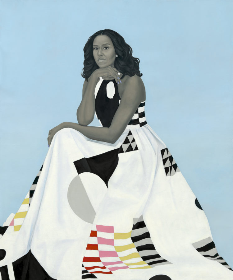Amy Sherald, Portrait of Michelle Obama, 2018 Obamas' official portraits