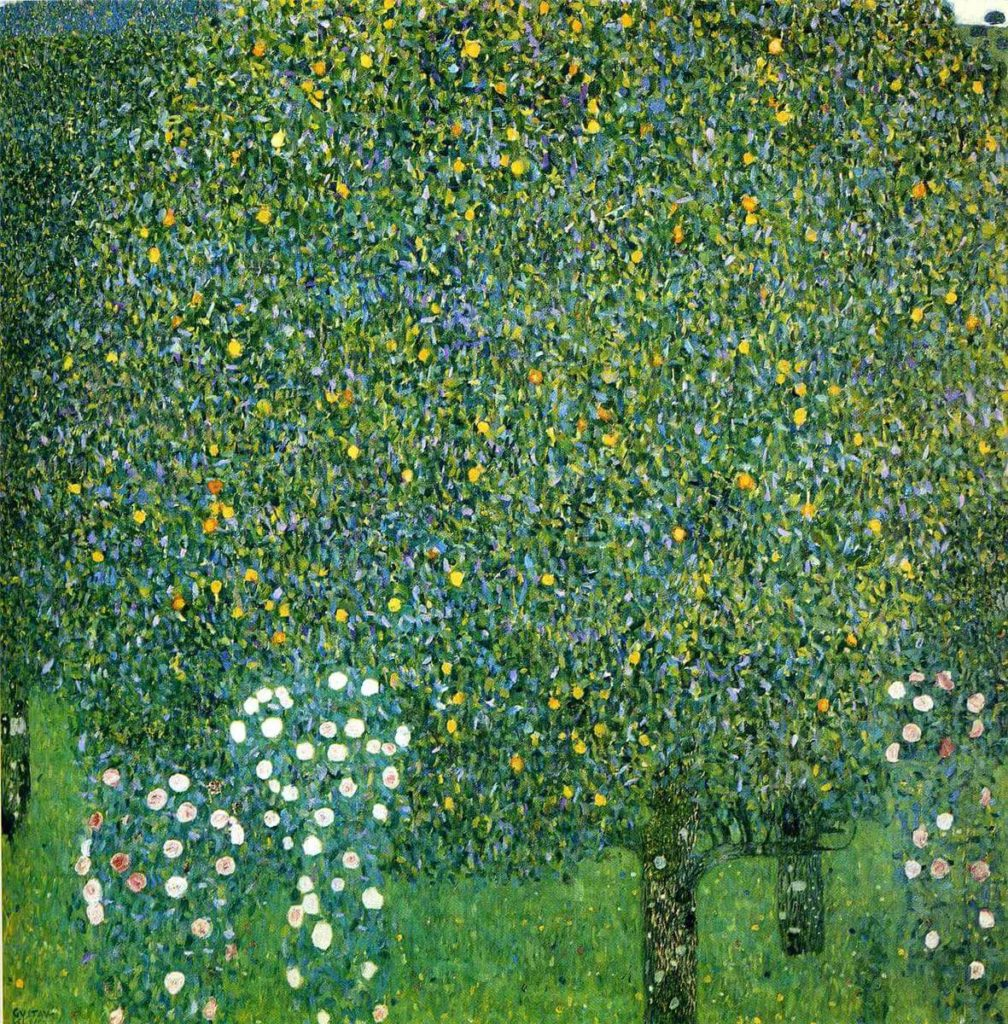 Klimt's landscapes Rose Bushes Under Trees