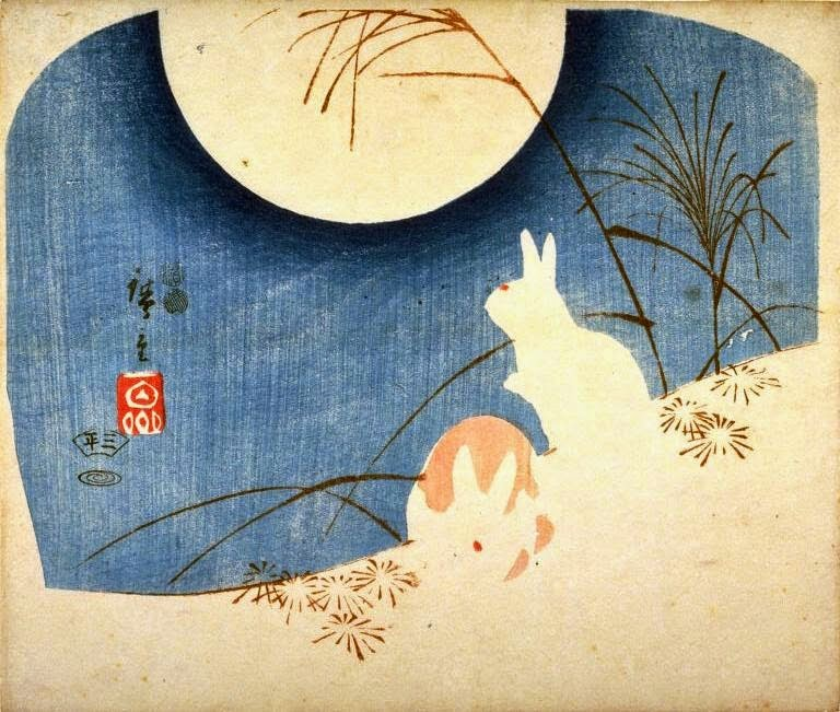 Hiroshige, Untitled (Two Rabbits, Pampas Grass, and Full Moon), 1849 - 1851; bunny paintings