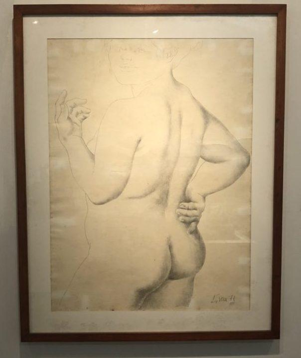 review of Museo de Arte Moderno in Cartagena Enrique Grau, Desnudo Femenino, 1971. Pencil drawing. Museo de Arte Moderno de Cartagena, Colombia. Photo by Howard Schwartz.
