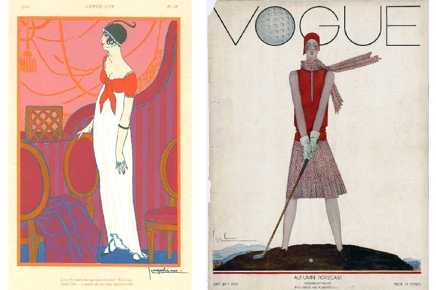 Georges Lepape – L'Entracte (Left) / Vogue Cover, July 20, 1929 (Right), The Roaring Twenties