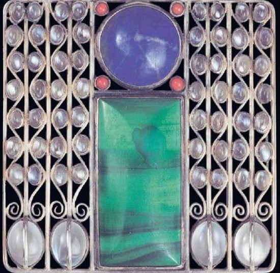 Josef hoffmann's modern brooches Josef Hoffmann, Brooch acquired by Klimt for Floge (1905) in silver, coral, lapis lazuli, malachite, moonstones. Executed by Karl Ponocny. Private collection.