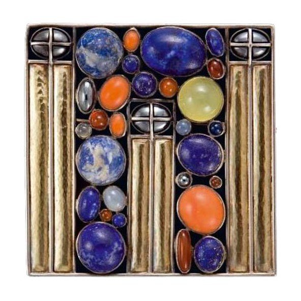 Josef hoffmann's modern brooches Josef Hoffmann, Brooch for Emilie Floge (c.1905) with lapis lazuli, coral and other gemstones. Executed by Eugen Pflaumer, c.1911. Private collection