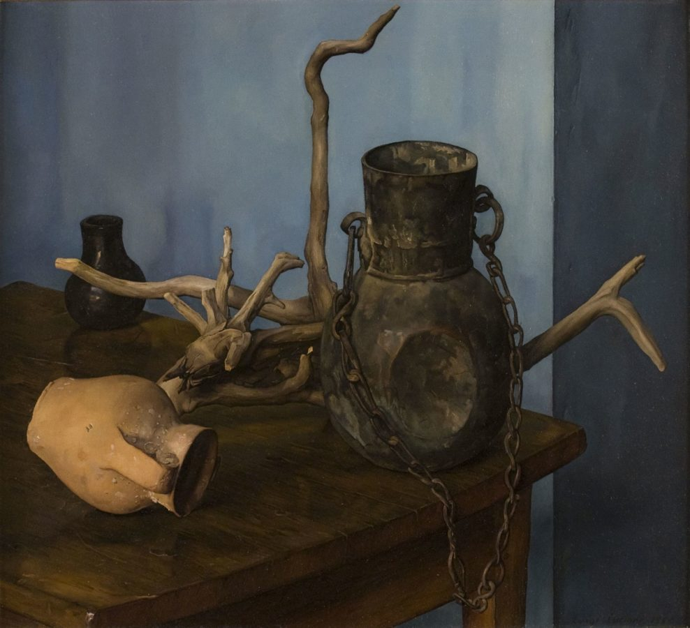 Luigi Lucioni's art Lucioni painting of driftwood, a hanging vase, and two jars arranged on a table in a corner. Luigi Lucioni, Arrangement in Space, 1955, DC Moore Gallery, New York, NY, USA.