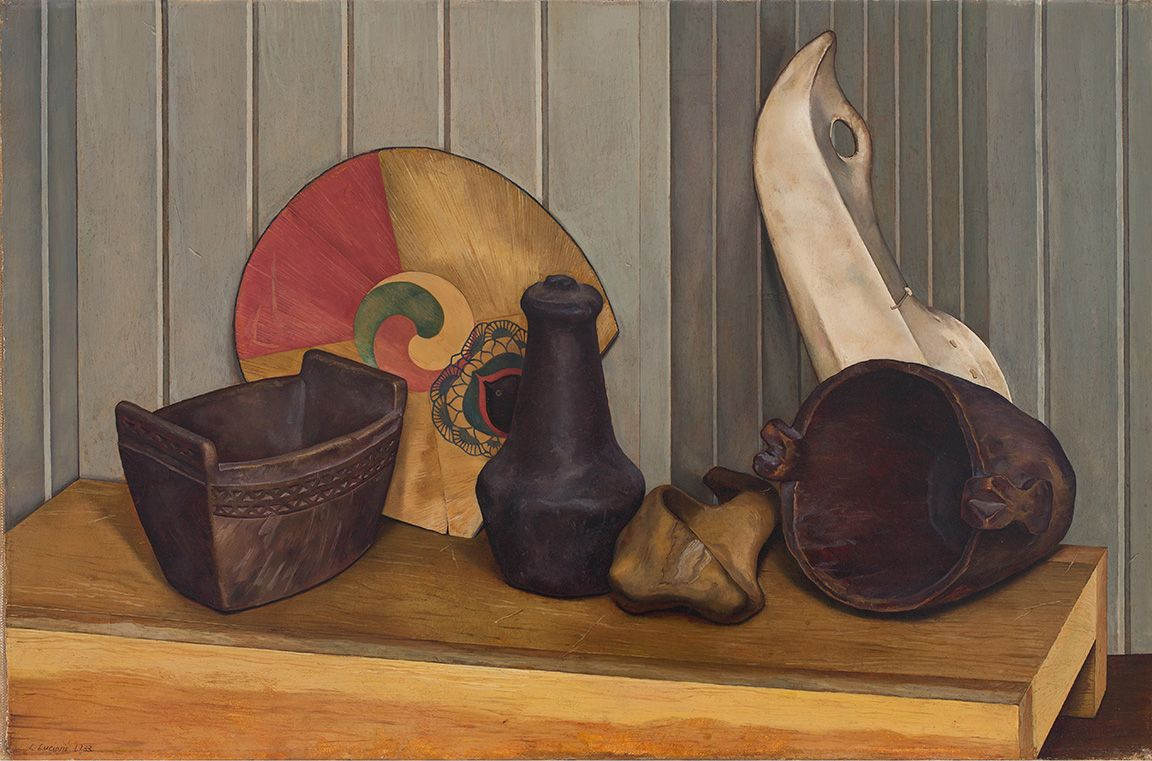 Luigi Lucioni's art Lucioni painting of three Native American-made vessels, a fan, and some sort of clay object arranged on a table. Luigi Lucioni, Indian Textures, 1933, DC Moore Gallery, New York, NY, USA.