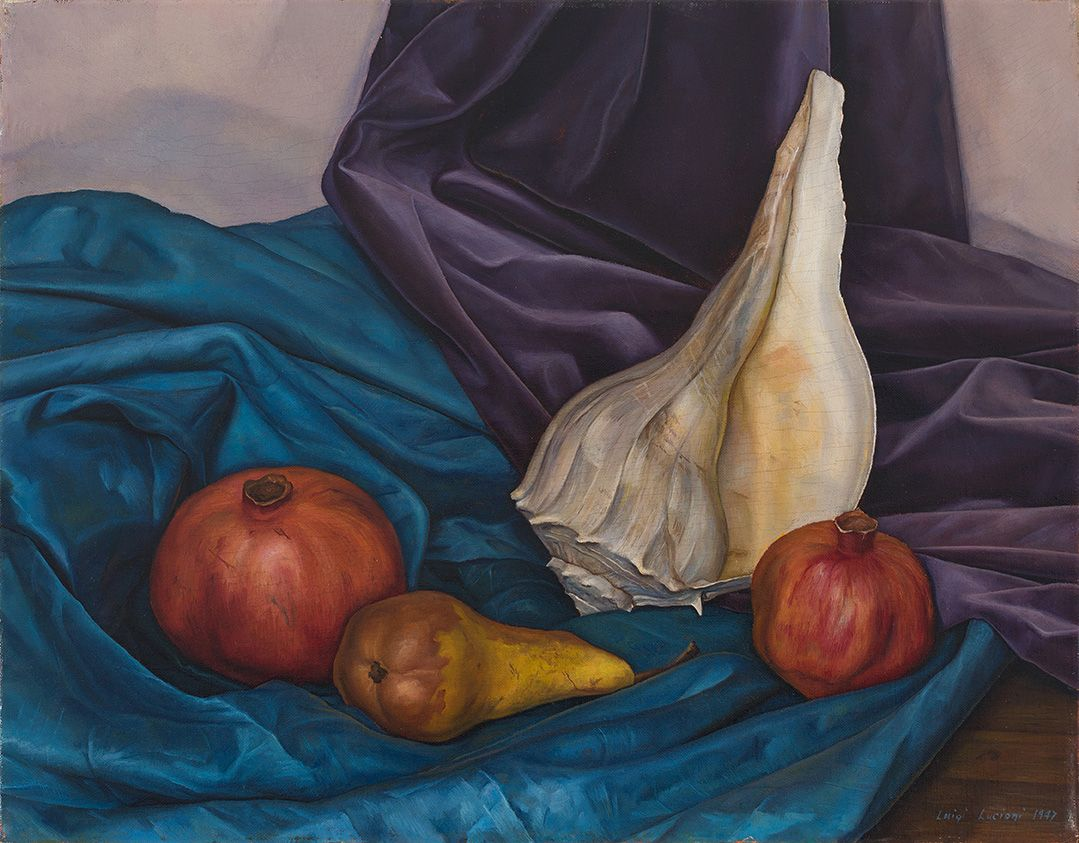 Lucioni painting of two pomegranates, a pear, and a conch shell arranged on a wood surface. Luigi Lucioni, Shell Pattern, 1947, DC Moore Gallery, New York, NY, USA.