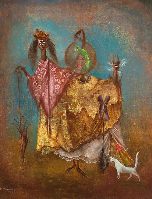 Leonora Carrington, La artista viaja de incognito (The Artist Traveling Incognito), 1949, Weinstein Gallery, San Francisco, Surrealist Leonora Carrington