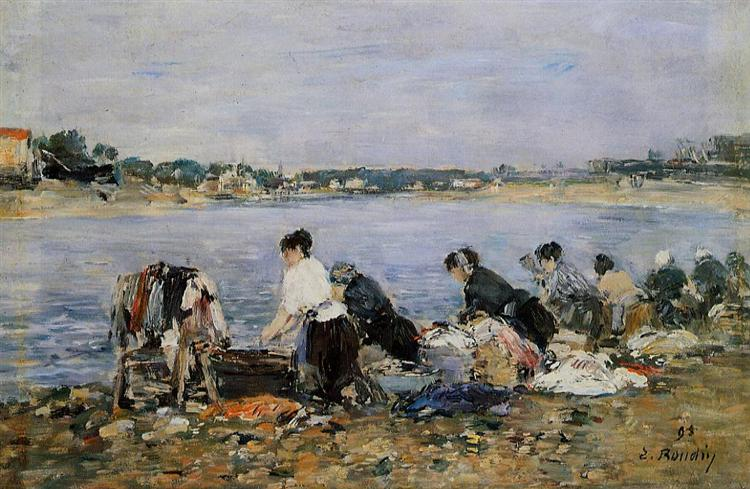 Eugene Boudin, Laundresses on the banks of Touques, 1894, private collection, Jobs in art which don't exist