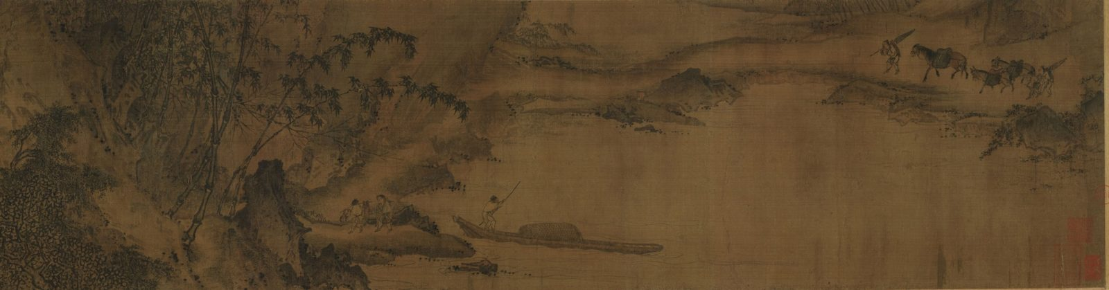 Part 3, Composing Poetry on a Spring Outing by Ma Yuan. Ink and color on silk. Atkins Museum of Art, Kansas City. genius artist Ma Yuan
