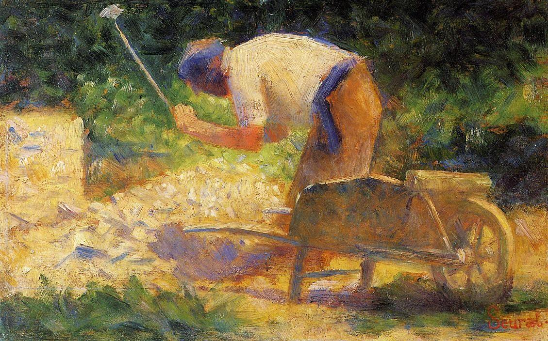 Georges Seurat, Stone Breaker and Wheelbarrow, Le Raincy, 1883, Philips Collection, Washington, DC, Jobs in art which don't exist