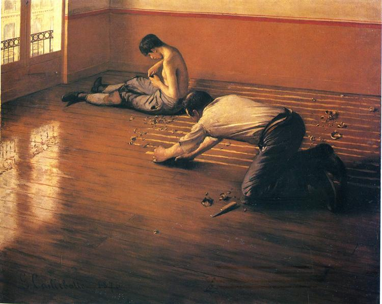 Gustave Caillebotte,The Parquet Planers, 1876, private collection, Jobs in art which don't exist