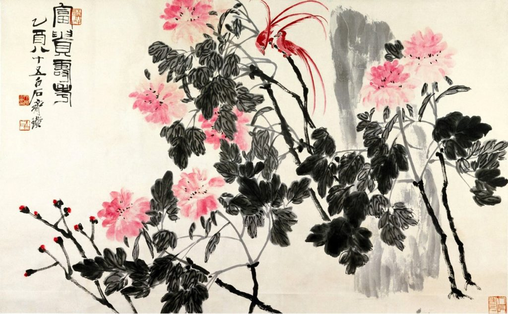 Chinese art, Birds and Flowers, watercolour ink painting by Qi Baishi (1864 – 1957), influential chinese painter