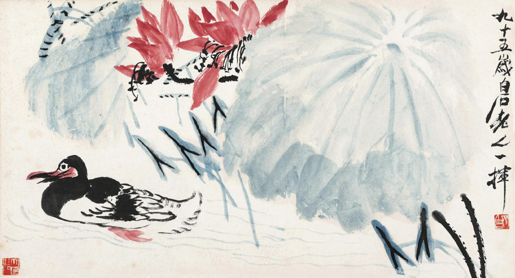 Qi Baishi (1864-1957), Lotus Flowers and Wild Duck, source: comuseum.com