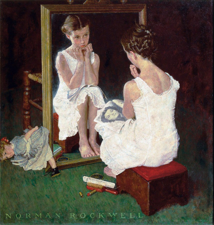 girl at mirror by Norman Rockwell
