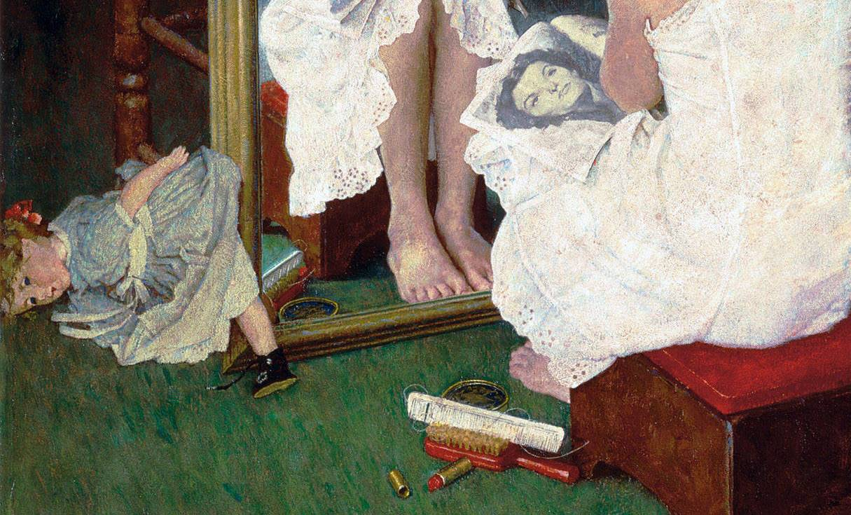 Norman Rockwell, Girl At Mirror, detail, 1954, girl at mirror by Norman Rockwell