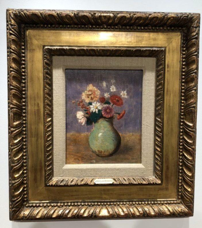 Odilón Redon, Fleurs dans un vase vert, 1885-1890