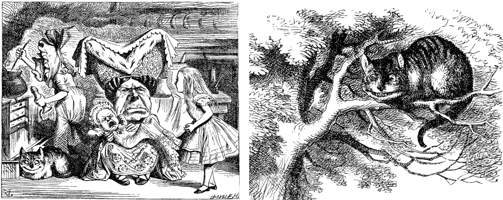 Five Things Everyone Should Know About the Victorians: Left: Sir John Tenniel, Cook, Duchess, Cheshire Cat, Baby, and Alice, wood engraving. Right: Sir John Tenniel, detail from Alice speaks to the Cheshire Cat, wood engraving. Both images are from the 1865 version of Lewis Carroll's Alice's Adventures in Wonderland.