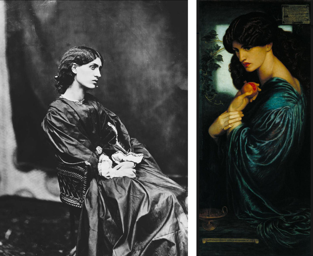Five Things Everyone Should Know About the Victorians: Left: John R. Parsons, Jane Morris posed by Dante Gabriel Rossetti, 1865, Victoria & Albert Museum, London, England, UK. Right: Dante Gabriel Rossetti, Proserpine, 1874, private collection. Wikimedia Commons.