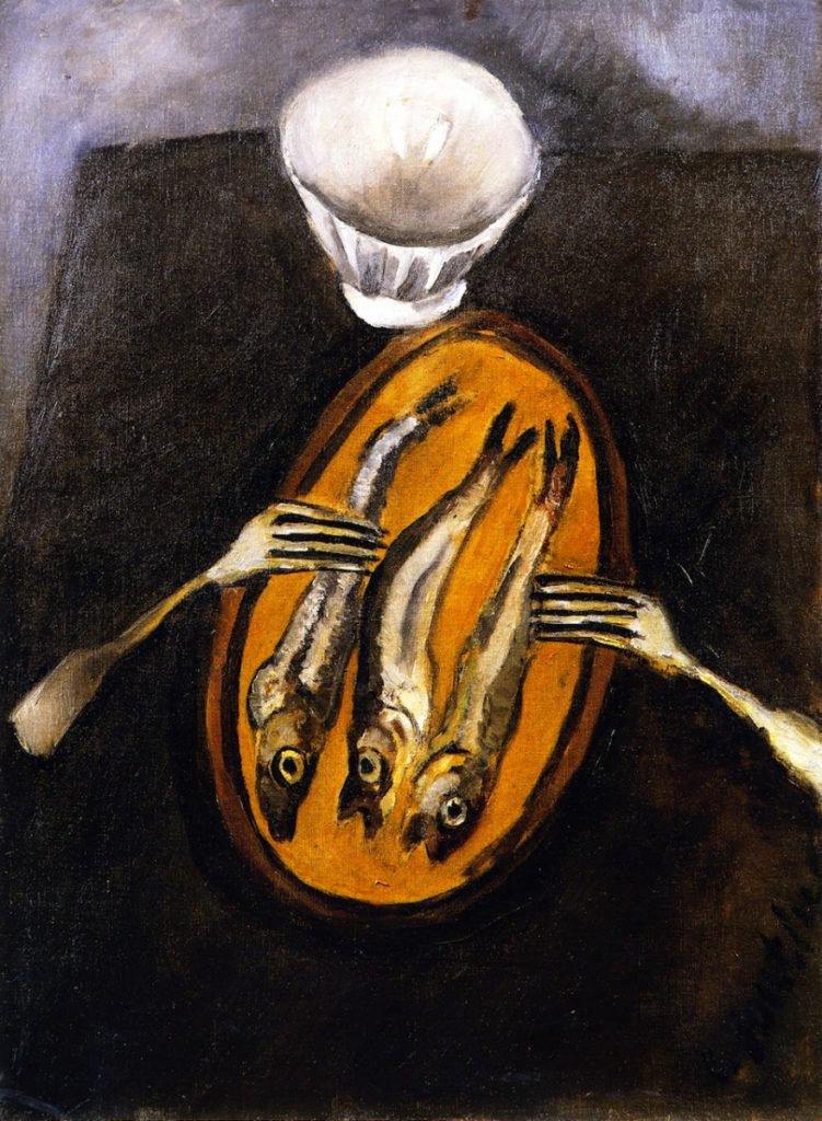 Chaim Soutine, detail, Still Life with Herrings, c. 1916. Soutine's Exhibition at the Jewish Museum