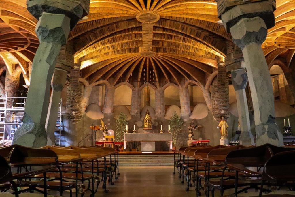 Antoni Gaudí world heritage, Church of Colònia Güell (interior), 1908-1914,