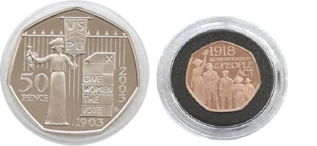 The Suffragette Penny: Left: 50 pence coin commemorating the 100th anniversary of the Women's Social and Political Union, 2003. Right: 50 pence coin commemorating the 1918 Representation of the People Act, 2018.