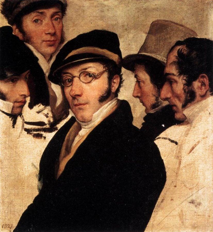 Hayez erotic drawings: Francesco Hayez, Self Portrait in a Group of Friends