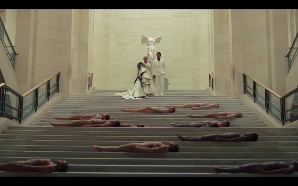 Beyonce Jay-z Louvre videoWinged Victory of Samothrace, the second Century BC, Musée du Louvre, shot from 'APE***T' video