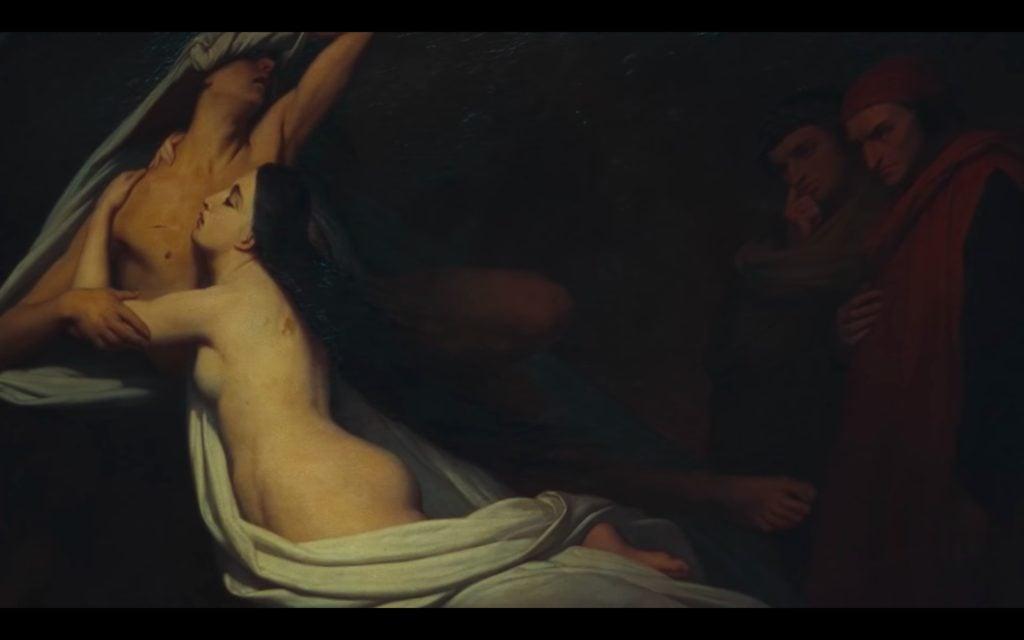 Beyonce Jay-z Louvre video Ary Scheffer,Francesca da Rimini and Paolo Malatesta Appraised by Dante and Virgil, 1835, Musée du Louvre