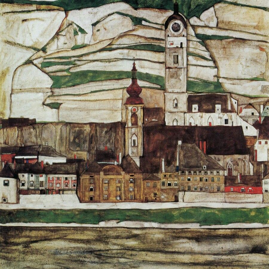town paintings by Egon Schiele
