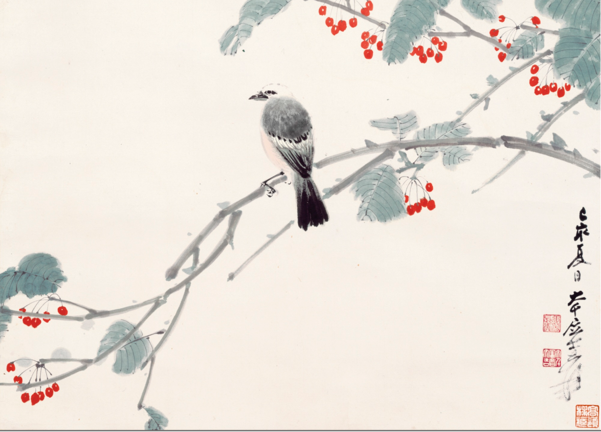 Zhang Daqian, Bird On A Cherry Branch, 1959, ink and colour on paper, private collection. Sotheby's.