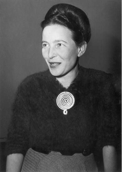 Simone de Beauvoir wearing Calder brooch, 1955 Calder's jewellery