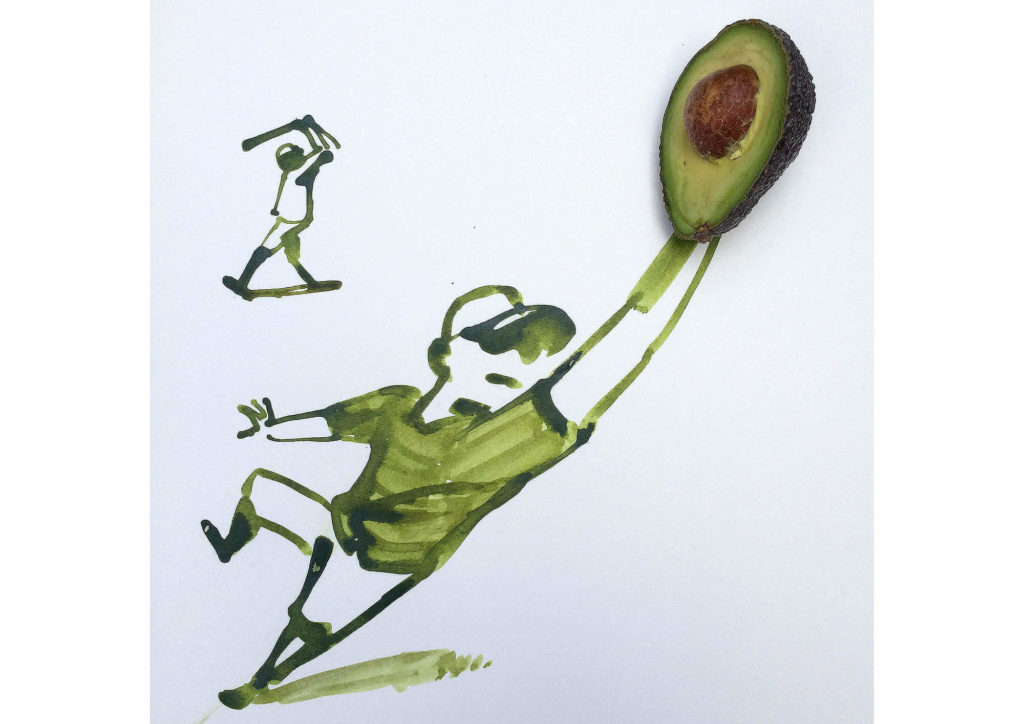 Christoph Niemann - Avocado Baseball magazine illustration