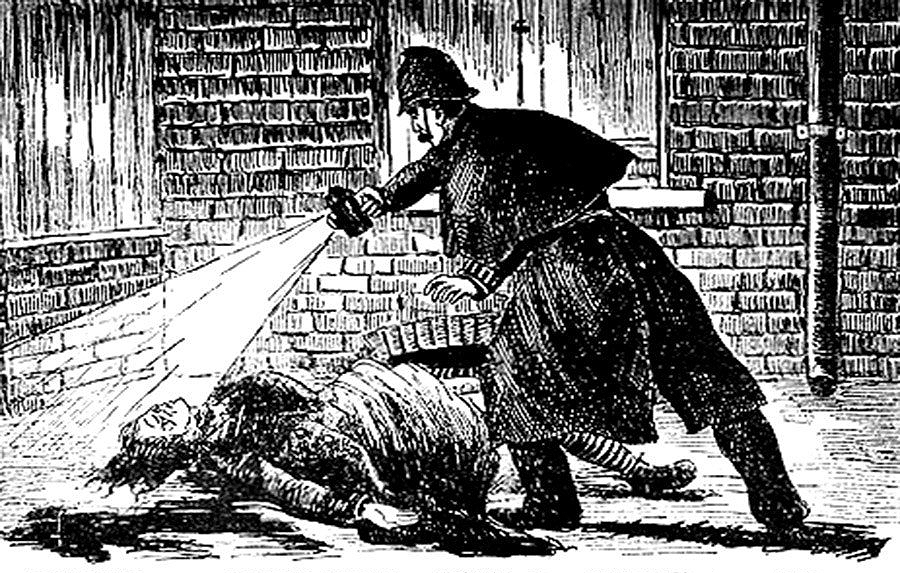 Five More Things Everyone Should Know About the Victorians: Finding the Mutilated Body in Mitre Square, c.1888, woodcut illustration from The Illustrated Police News, illustrator unknown. Wikimedia Commons.