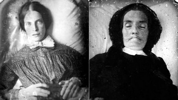 Five More Things Everyone Should Know About the Victorians:  Victorian death photography, date and photographer unknown, Ann Longmore-Etheridge Collection. The eyes of the deceased lady on the left were painted onto the photograph after it was developed in order to give the appearance of life. Dying Charlotte.