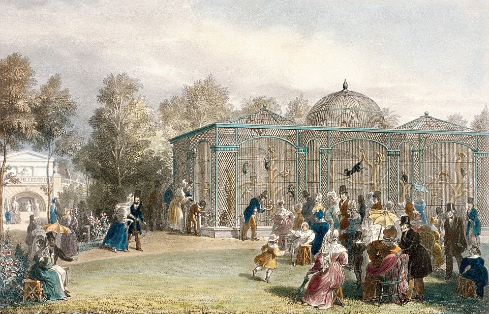 Five More Things Everyone Should Know About the Victorians: George Scharf, Visitors at the Monkey House in the gardens of the Zoological Society in Regent's Park, London, 1835, private collection. Wikimedia Commons.