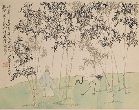 Luo Ping, Walking a Crane in a Bamboo Grove, one of twelve leaves from Figures and Landscapes after Poems by Jin Nong, 1759, Palace Museum, Beijing, China.