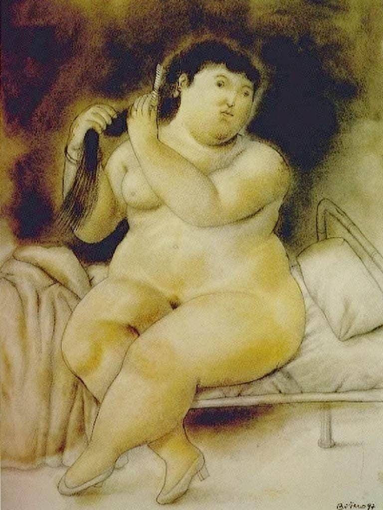 Female body in art: Fernando Botero, Mujer en la cama, 1996, private collection.