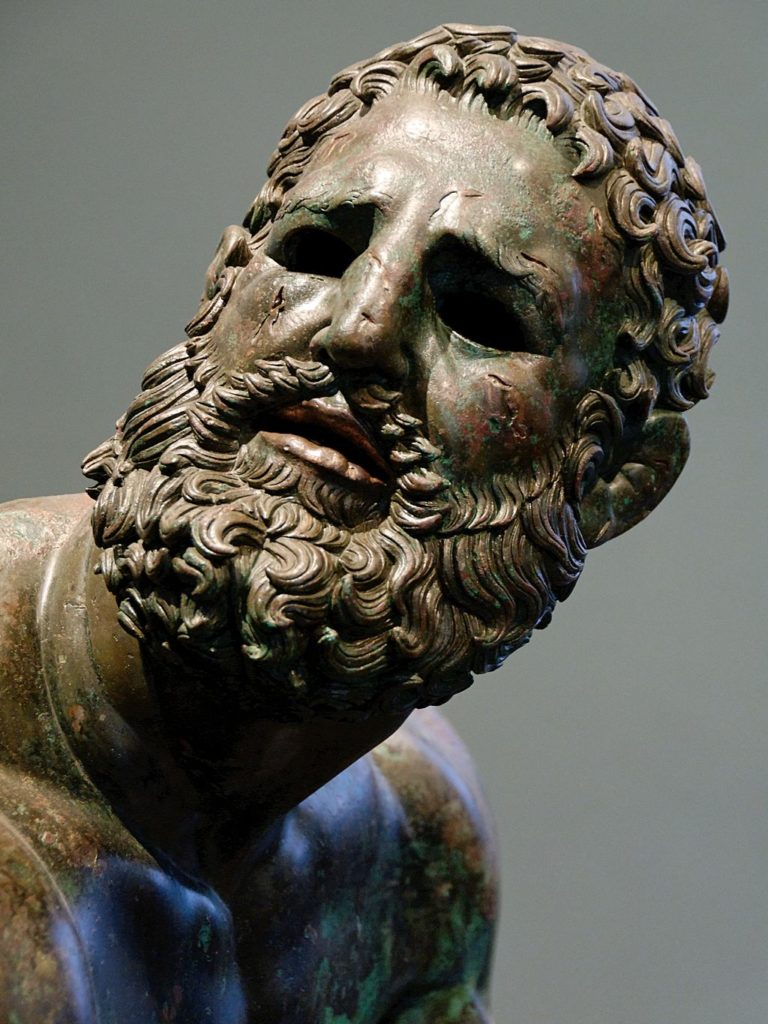 Boxer at Rest, c. 330 to 50 BCE, bronze statue, Palazzo Massimo alle Terme, Rome, Italy, source: Wikimedia Commons