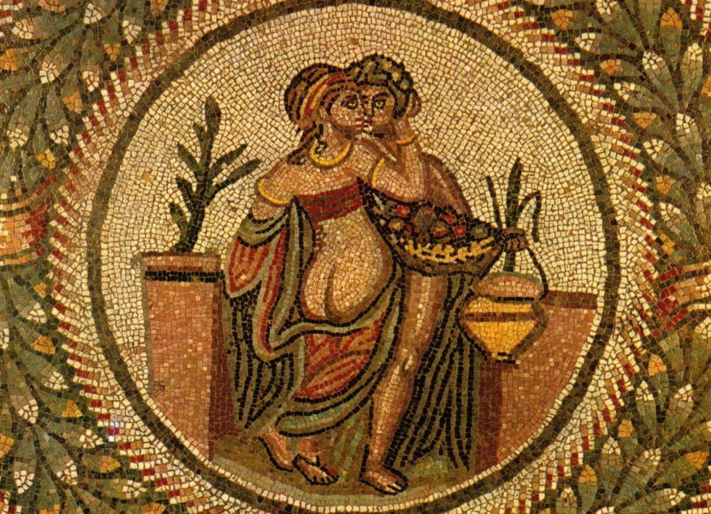 Female body in art: Mosaic from the Villa Romana del Casale, Piazza Armerina, Sicily.