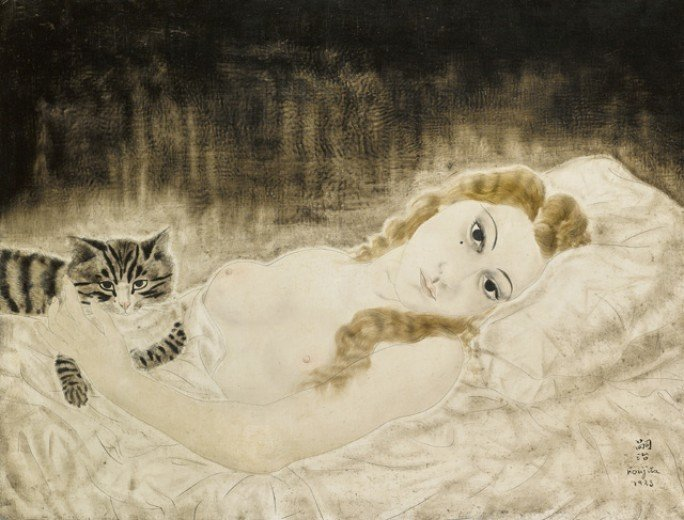Foujita Cats Leonard Tsuguhara Foujita, Youki and a cat, 1923, private collection