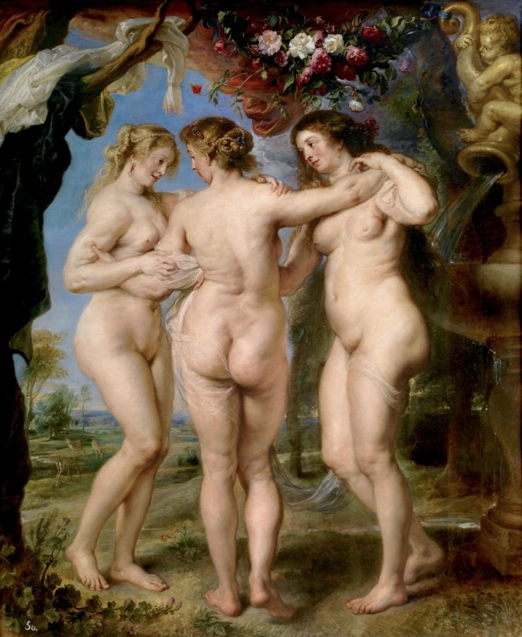 Female body in art: Peter Paul Rubens, The Three Graces, 1630-35, Museo Nacional del Prado, Madrid, Spain.