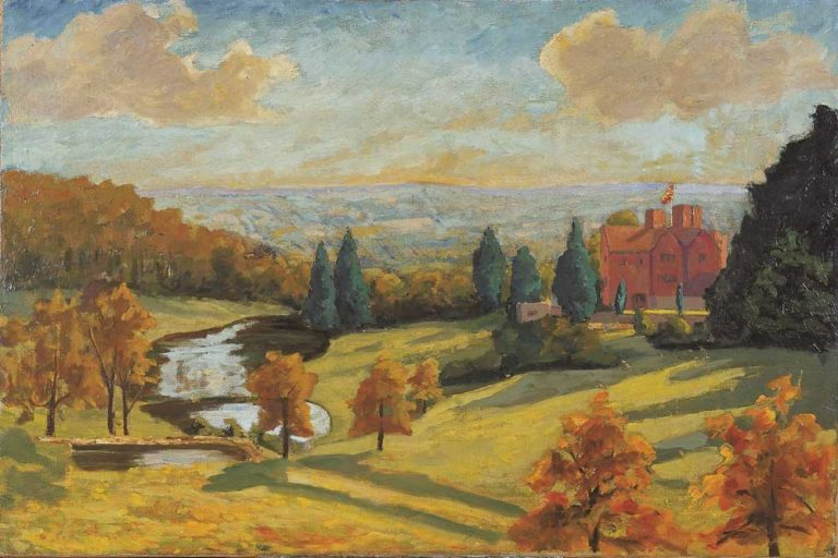 Winston Churchill's Landscape Painting: Winston Churchill, A View of Chartwell, 1938, National Trust, Chartwell, England, UK.