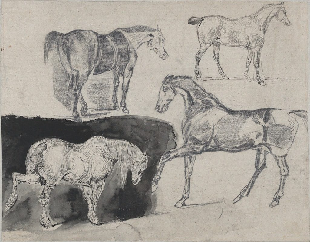 delacroix sketchbooks and drawings Eugène Delacroix, Four Studies of Horses, 1824-25. Graphite, pen and ink, brush and black wash. Gift from Karen B. Cohen Collection of Eugène Delacroix. Photo by Howard Schwartz