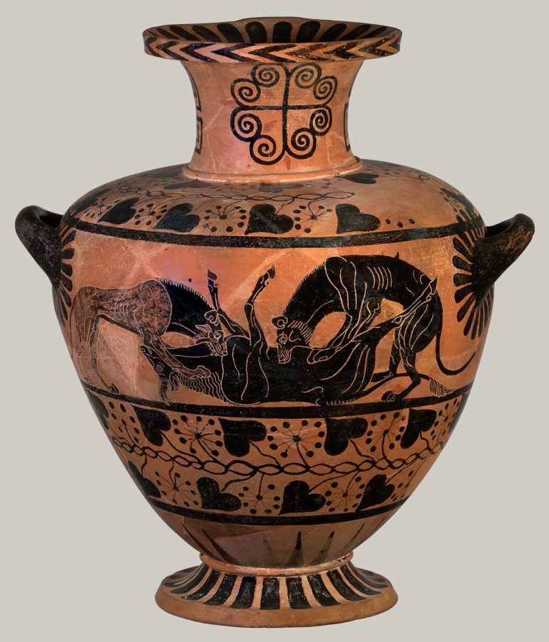 Terracotta hydria jar; ancient greek pottery terms